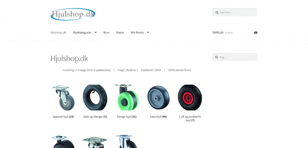 Reference - WordPress hjemmeside med webshop - Hjulshop-dk